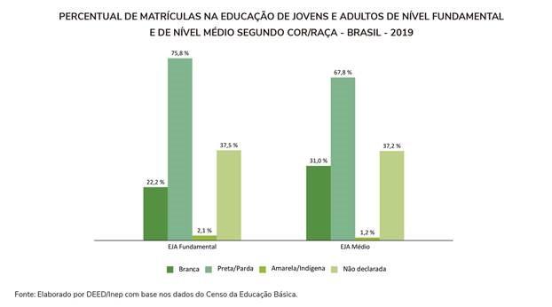 Percentual de matrículas na educação de jovens e adultos de nível fundamental e de nível médio segundo cor/raça - Brasil - 2019